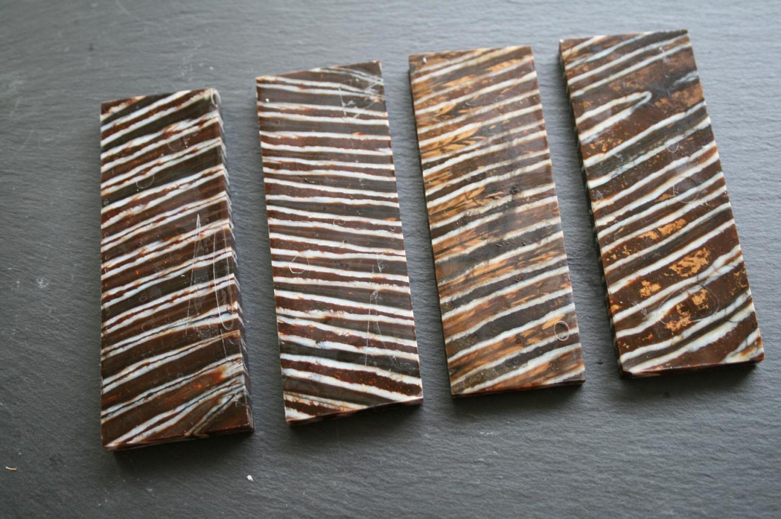 stabilisierte Mammut Backenzahn Griffschalen für handgefertigte Messer